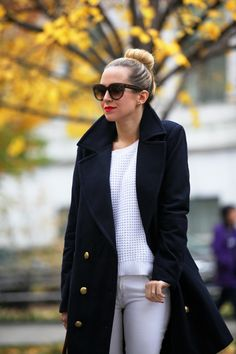 Winter whites and dark coats. | Via www.brooklynblonde.com