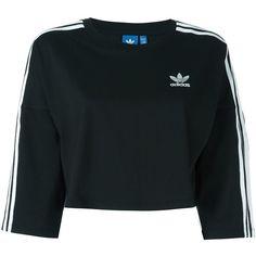 Adidas Originals Cropped Sweatshirt ($35) ❤ liked on Polyvore featuring tops, hoodies, sweatshirts, black, cut-out crop tops, cotton crop top, cotton sweatshirts, cropped sweatshirt and cropped tops