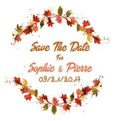 aquarelle mariage inspiration automne illustration tlcharger et imprimer pour save the date faire part mariage dcoration murale - Faire Part Mariage Etsy