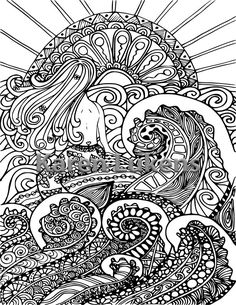 5 PagesMermaids Orcas Ocean Pack 1 Adult Coloring Book Pages Printable Instant Download