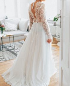 Lace wedding dress with sleeves ,Deep v-back a line wedding dress