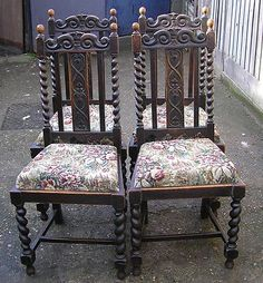 BARLEY TWIST CHAIRS With Carved Tops (4)