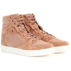 Balenciaga Suede High-Top Sneakers ($615) ❤ liked on Polyvore featuring shoes, sneakers, beige, beige suede shoes, suede shoes, high top trainers, balenciaga trainers and high top shoes