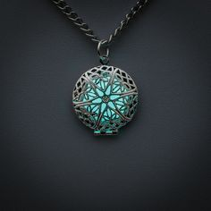 Let it Glow - BLUE Glowing charm necklace - round ornament locket