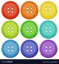 Set of colourful button Royalty Free Vector Image Color Activities For Toddlers, Toddler Learning Activities, Montessori Activities, Learning Centers, Kindergarten Activities, Preschool Activities, Kids Learning, Shape Posters, School Items