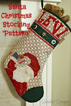 Santa Christmas Stocking Pattern for sale on Etsy - Spindles Designs by Mary and Mags