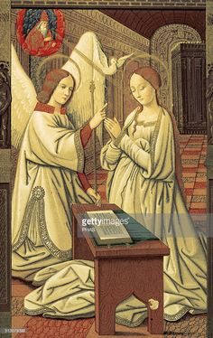 Book hours. Annunciation of Mary. Miniature. 15th century. Codex of Anne of Brittany (1475-1589). Facsimile. Ambrosiano Museum Library. Milan. Italy.