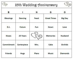 25th Anniversary Party Bingo Game 60 Cards by BuyMeSomeHappiness