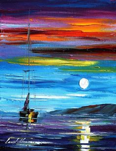 I adore with total respect this mans creativity using pallet knife & oils. His pieces are varied & full of soulful expression. Check out his gallery. Super Amazing stuff.  Moon light oil painting on canvas by L.Afremov by Leonidafremov