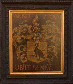 BRASÃO ANNO 1700 OBIIT. 18 MEY. Original em pergaminho de época aquarelado e emoldurado, século XVII