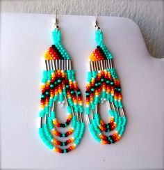 Native American Hand Crafted Beaded Earrings by OraLouiseJewelry, $22.00