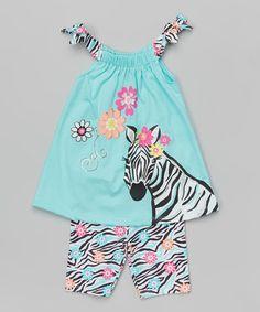 Loving this Turquoise Zebra Tank & Shorts - Toddler & Girls on #zulily! #zulilyfinds