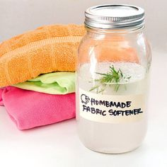 Eco-Friendly Fabric Softener: Instead of tossing down for name-brand fabric softener, make your own  softening solution that leaves clothes wonderfully downy.