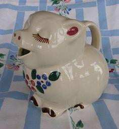 "vintage Shawnee Pottery Smiley Pig 8"" Large Milk Pitcher"