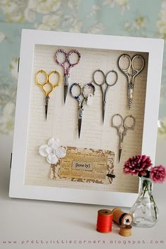 scissor cabinet in a hinged shadowbox frame  --  sewgaby's media
