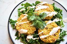 Vegan Squash Millet Cakes with Tahini Dressing #Vegan #Vegetarian #Kale #Squash #MealPrep #Lunch #Dinner #Tahini #Millet #Cilantro #Dill