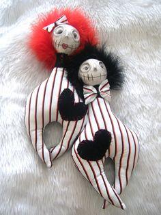 Ooak Mix Media Cuddly Art Dolls Wierd Love Pea by SpookyButCute, $80.00