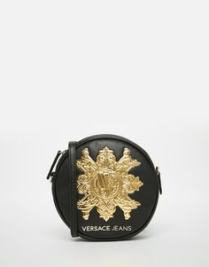 Versace+Jeans+Round+Across+Body+Bag+with+Gold+Branding