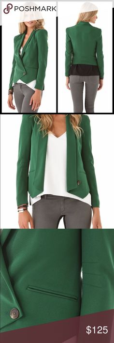 "*NWT* Rebecca Minkoff Becky Silk Blazer $368, MED Triple darts style the sleeves of this stylish ""Becky"" tuxedo blazer from Rebecca Minkoff. Shawl lapel with lightly padded shoulders and a dual wrap button closure. Front welt pockets. Shell and lining are 100% silk. In a beautiful forest green, so luxurious & stylish!  Size: Medium  Material: 100% silk. Rebecca Minkoff Jackets & Coats Blazers"
