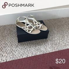Sandals Leather/ rubber flat white sandals with gold studs. Shoes Sandals