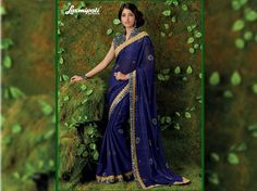 Get this beautiful Dark Blue Chiffon Foil Work Saree with Multicolour Satin Silk Blouse along with Satin Silk Printed Lace Border from Laxmipati Saree. Laxmipati Sarees, Work Sarees, Lace Border, Printed Sarees, Occasion Wear, Silk Satin, Print Design, Catalog, Dark Blue