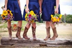 Love the Colors :) Cowboy Boots - BLUE Dresses - Popping Flowers! Country Wedding