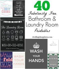 40 Fabulously Free Bathroom & Laundry Room Printables #laundryprintables http://www.petrashop.com/