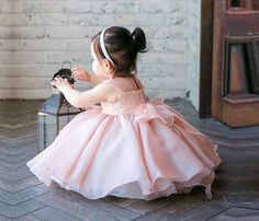 Pink Flower Girl dress/Light pink bridesmaid dress. Available from 0 - 15 Years. Material: Satin, soft polyester fiber, satin &purified cotton lining, tulle mesh. Free shipping.