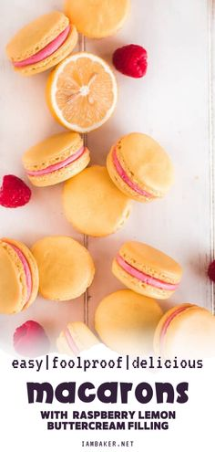 This foolproof version of a classic French Macarons is bursting with flavor - smooth crisp shell sandwiched with raspberry lemon buttercream filling! Learn some tips and trick and follow these step by step instructions for an easy version of the macarons! Easy No Bake Desserts, Lemon Desserts, Homemade Desserts, Great Desserts, Best Cookie Recipes, Baking Recipes, Sweet Recipes, Pie Recipes, Lemon Buttercream