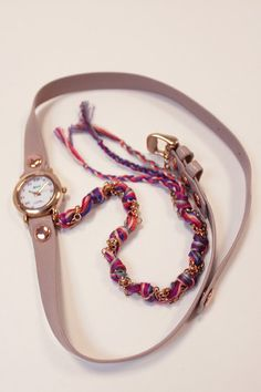 La Mer Friendship Bracelet Wrap Watch.   http://www.shopcloakroom.com/products/la-mer-nude-friendship-bracelet-wrap-watch