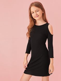 Girls Cold Shoulder Rib-knit Fitted Dress #womenfashion  Discover affordable and fashionable women's clothing online . Free Shipping On Orders $49+ ✓ Free Returns ✓  # #GirlsDresses Dresses Kids Girl, Kids Outfits Girls, Cute Girl Outfits, Basic Outfits, Cute Outfits For Kids, Cute Casual Outfits, Cute Summer Outfits, Preteen Girls Fashion, Girls Fashion Clothes