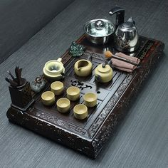 Chinese Yixing teaset Zisha teacup teapot ebony/blackwood tea tray Luxury suite