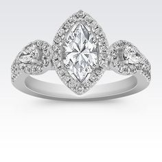 Halo Vintage Diamond Engagement Ring with Pavé Setting with Marquise Diamond from Shane Co. Available with your choice of ruby, diamond or sapphire center stone.