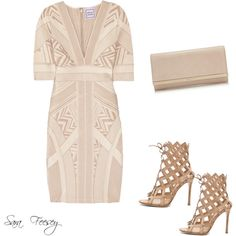 Untitled #14 by sara-elizabeth-feesey on Polyvore featuring polyvore, fashion, style, Hervé Léger, Gianvito Rossi and Jimmy Choo