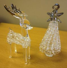 Spun Clear & Silver Glass Christmas Ornament Lot of Reindeer & Tree Glass Christmas Ornaments, Reindeer, Crystals, Silver, Crystal, Crystals Minerals, Money