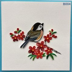 Items similar to Bird and Flower on Etsy Arte Quilling, Paper Quilling Flowers, Paper Quilling Tutorial, Paper Quilling Patterns, Quilled Paper Art, Quilling Paper Craft, Quilling Ideas, Vogel Illustration, Quilling Christmas