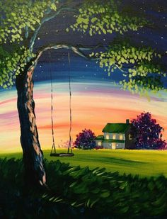 Summer Nights painting idea. Cute tree swing with country farmhouse in the background.