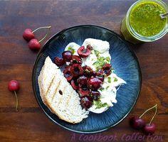 Burrata with Cherries and Pistachio Pesto | A Cookbook Collection