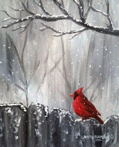 Cardinal on Fence, Winter Scene, Cardinal in Snow, Cardinal Painting. for Kim for Mom