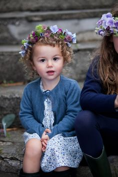 Floral dress and blue cardigan by Leigh Tucker Willow, exclusively for Dunnes Stores Blue Cardigan, Boy Fashion, Boy Or Girl, Flower Girl Dresses, Wedding Dresses, Spring, Floral, Fabric, Collection