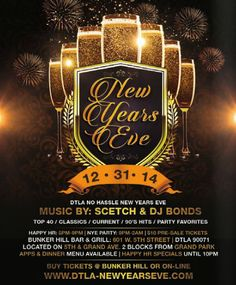 What's one of the best things you could do with your New Year's Eve? Spend it with friends at Bunker Hill Bar & Grill. Scetch & DJ Bonds have the music set and dinner will be served. Get your tickets before they sell out, here! #DTLA #LA #LosAngeles #DowntownLA #DowntownLosAngeles #BunkerHill #BunkerHillBarandGrill #NYE #Scetch