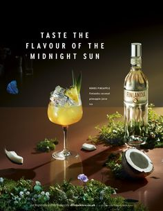 Print advertisement created by Wieden + Kennedy, United Kingdom for Finlandia Vodka, within the category: Alcoholic Drinks. Camping Set, Pineapple Juice, Ad Design, White Wine, Alcoholic Drinks, Advertising, Coconut, Tableware, Philosophy