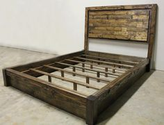 Rustic Platform Bed & Headboard  Queen by JamesAndJames on Etsy, $740.00