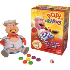 Pop the Pig. We're using this with our son's speech therapist to encourage talking about colors and numbers. We also use it to connect the concept of hungry with eating. He loves the game so much that we're going to use it as a motivator. If he does a non-preferred action 5 times, he'll get a chance to take a turn at Pop the Pig.