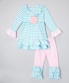 Another great find on #zulily! Light Blue & Pink Stripe Ruffle Top & Pants - Toddler & Girls by Royal Gem #zulilyfinds
