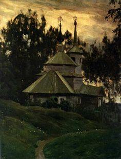 BAKST  Village Church. 1903-1904.  Oil on canvas, 48x39 cm.  The Russian Museum, St Petersburg.