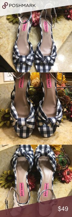 "Betsey Johnson Blue Gingham 👠 Brand new 2""Heels Betsey Johnson Shoes Heels"