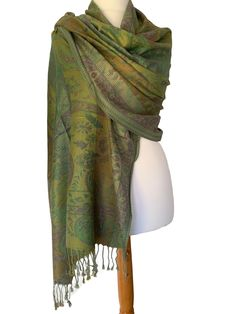 Large green and purple patterned scarf with tassel trim to the ends. Excellent quality fabric it drapes and falls beautifully, large enough to be Prom Accessories, Fashion Accessories, Cat Scarf, Pashmina Wrap, Free Uk, Green And Purple, Different Styles, Shawl, Tassel