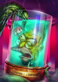 Pop Culture Art - Abraham Jay Jedediah Simpson by fubango / Ricardo Chucky Simpsons Tattoo, Simpsons Art, Homer And Marge, Funny Phone Wallpaper, Pop Culture Art, Bird Drawings, Realistic Drawings, Chucky, Horror Art