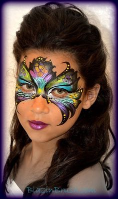 Simple face painting designs are not hard. Many people think that in order to have a great face painting creation, they have to use complex designs, rather then simple face painting designs. Adult Face Painting, Mask Painting, Belly Painting, Butterfly Face Paint, Butterfly Makeup, Butterfly Mask, Face Painting Designs, Paint Designs, Face Paint Makeup